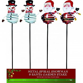 Bouncing Spiral Snowman And Santa Garden Stakes  34 INCH (Case of 12)