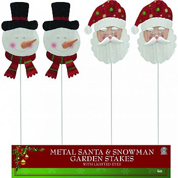 Snowman And Santa W/light Up Eyes Garden Stakes ASSORTED 7X1X44 INCH (Case of 12)
