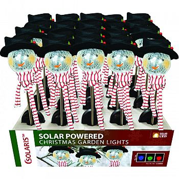 Solar Powered Christmas Snowman Garden Lights ASSORTED 33 INCH (Case of 20)