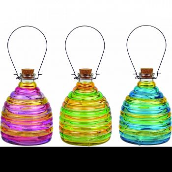 Two Toned Glass Wasp Traps MULTICOLORED 6X6X8 INCH (Case of 9)