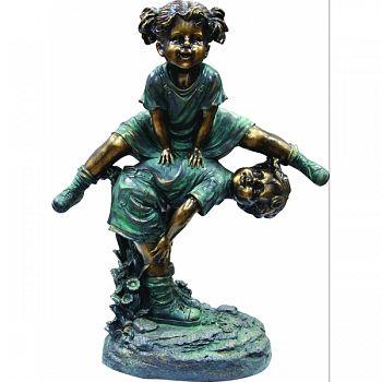Girl Jumping Over Boy Garden Statue 20X11X26 INCH