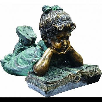 Statue Girl Laying Down Reading Book  21X14X16 INCH
