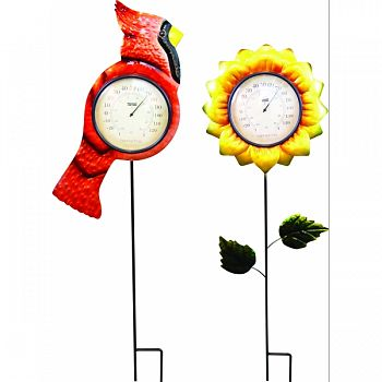 Flower And Bird Garden Stake With Thermometer RED/YELLOW 11X1X36 INCH (Case of 8)