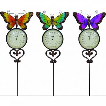 Butterfly Garden Stake With Thermometer ASSORTED 10X1X47 INCH (Case of 6)
