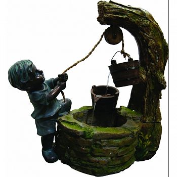 Boy Fetching Water Polyresin Fountain NATURAL STONE 24X12X23 INCH