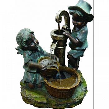 Boy And Girl Fetching Water Polyresin Fountain NATURAL STONE 16X12X20 INCH