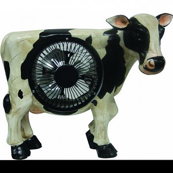 Cow Statuary With Fan WHITE/BLACK 11X4X9 INCH