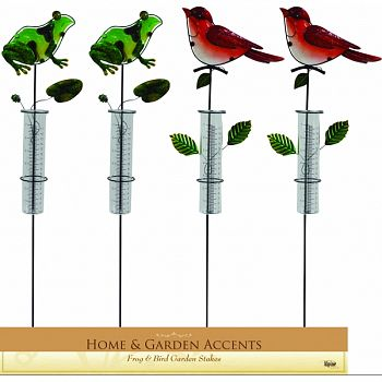 Frog And Cardinal Garden Stake With Rain Gauge RED/GREEN 8X1X33 INCH (Case of 12)