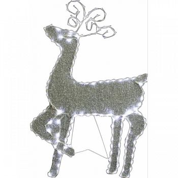 Standing Reindeer W/144pcs Led Lights 8-functions WHITE 22X1X35 INCH (Case of 6)