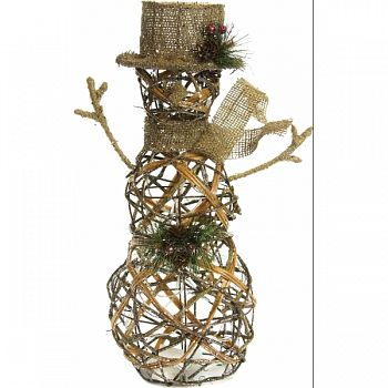 Rattan Gold Snowman W/ 20 Warm White Led Lights GOLD 13X5X19 INCH (Case of 2)