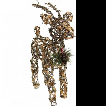 Rattan & Berry Reindeer Decor W/ 10 Led Lights GOLD 7X13X23 INCH (Case of 2)