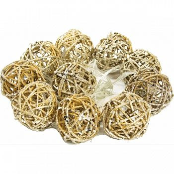 Gold Rattan Christmas Ball String Lights GOLD 2X2X2 INCH (Case of 6)