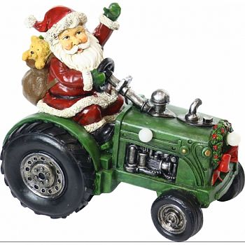 Santa On Tractor Statuary W/3 Led Lights MULTICOLORED 10X6X9 INCH (Case of 4)