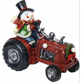 Snowman On Tractor Statuary W/3 Led Lights MULTICOLORED 10X6X9 INCH (Case of 4)