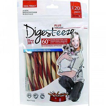 Digest-eeze Natural Beefhide Dog Twists PORK/BEEF 5 INCH/20 PACK