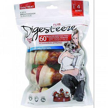Digest-eeze Natural Beefhide Dog Bone PORK/BEEF/CHKN 4 INCH/4 PACK