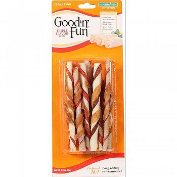 Healthy Hide Good N Fun Triple Flavor Twists  10 PACK