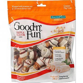 Healthy Hide Good N Fun Triple Flavor Bones  18 PACK/MINI