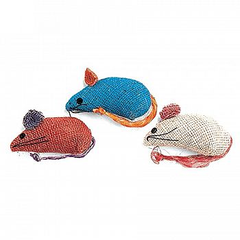 Burlap Mouse 3 pack Cat Toy