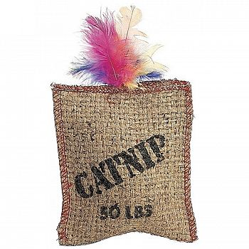 Jute and Feather Sack Catnip Cat Toy