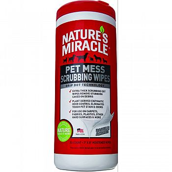 Natures Miracle Pet Mess Scrubbing Wipes  30 COUNT