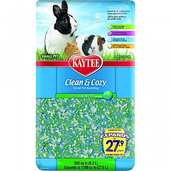 Clean And Cozy Small Pet Bedding WHITE/GREEN/BLU 500 CUBIC INCH