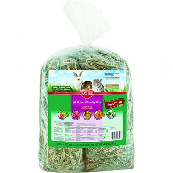 Timothy Hay Plus Variety Pack For Small Animals  5-10 OUNCE BAGS