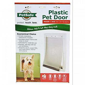 Plastic Pet Door WHITE MEDIUM