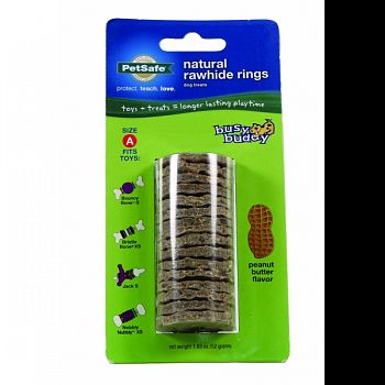 Busy Buddy Natural Rawhide Rings PEANUT BUTTER SML / 16 PACK