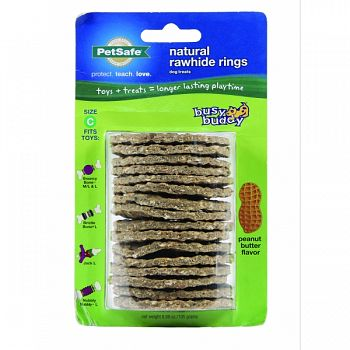Busy Buddy Natural Rawhide Rings PEANUT BUTTER LRG / 16 PACK