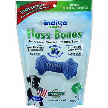 Indigo Fresh Floss Bones For Dogs BLUEBERRY&CHKN 6 OUNCE