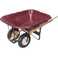 Dual Wheel Wheelbarrow W/ribbed Tires MAROON 10 CU FT