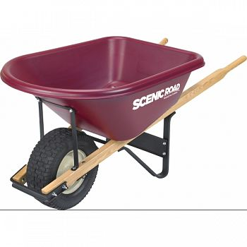Single Wheel Wheelbarrow W/turf Tire MAROON 6 CU FT