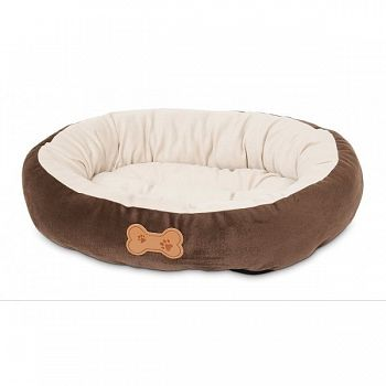 Round Bolster Pet Bed With Bone Applique 20x16 in.