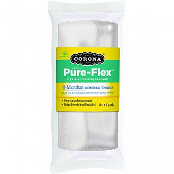 Corona Pure-flex Flexible Cohesive Bandage WHITE 4INCH X 5YARD