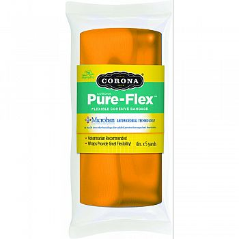 Corona Pure-flex Flexible Cohesive Bandage ORANGE 4INCH X 5YARD