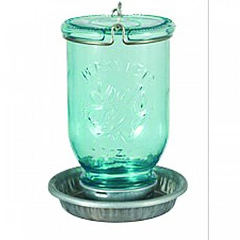 Mason Jar Wild Bird Waterer LIGHT BLUE 32 OUNCE