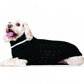 Classic Cable Dog Sweater BLACK LARGE