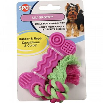 Lil Spots Rubber Bone With Rope