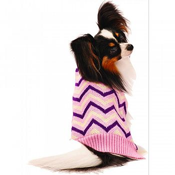 Chevron Dog Sweater PINK SMALL/10-14 IN