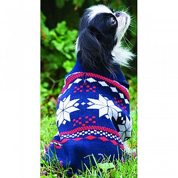 Snowflake Dog Sweater NAVY BLUE/RED MEDIUM/14-19 IN
