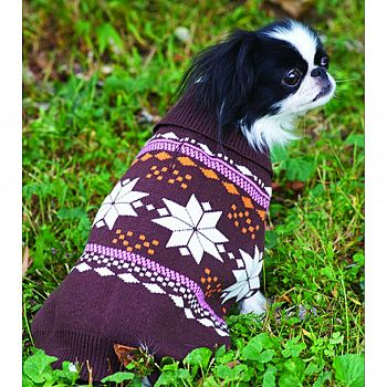 Snowflake Dog Sweater BROWN/PINK MEDIUM/14-19 IN