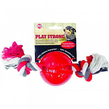 Play Strong Tugs Bone Ball Rope RED LARGE
