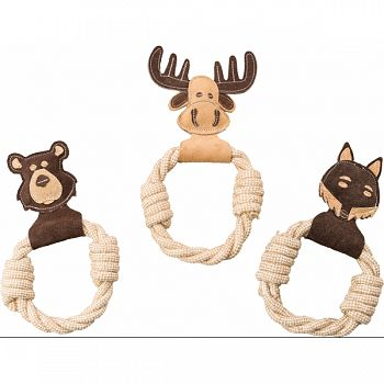Dura-fused Leather Animal Rings Dog Toy BROWN 11 IN