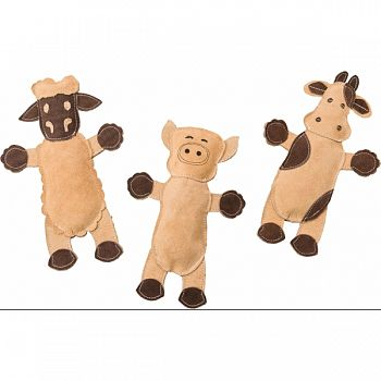 Dura-fused Leather Barnyard Dog Toy BROWN 11 IN