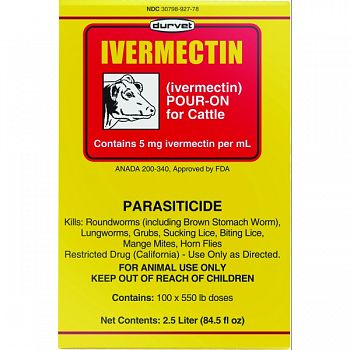 Ivermectin Pour On For Cattle  2.5 LITER