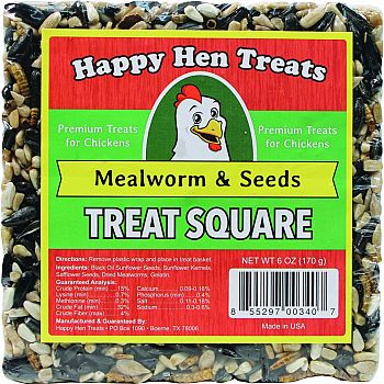 Happy Hen Treats Treat Square MEALWORM/SEED 6 OUNCE