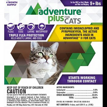Adventure Plus For Cats 4-pack  OVER 9 POUNDS