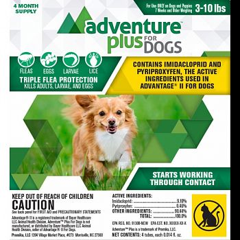 Adventure Plus For Dogs 4-pack  3-10 LB