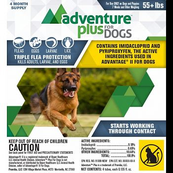 Adventure Plus For Dogs 4-pack  OVER 56 LB